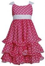 Fuchsia-Pink White Sequin Waist Dotted Tier Chiffon Dress FU4MS, Fuchsia, Bon...