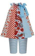 Aqua-Blue Multi Mix Print Panel Trapeze Dress/Legging Set AQ1HB, Aqua, Bonnie...