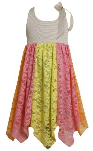 Size-4, Multi, BNJ-1999S, Colorblock Lace Panel Asymmetric Hanky Hem Dress,Bo...