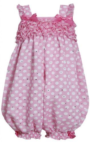 Pink and White Dots and Ruffles Sparkle Chiffon Romper PK1MH, Pink, Bonnie Je...