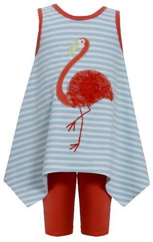 Aqua-Blue Orange Flamingo Stripe Knit Dress/Legging Set AQ0CH, Aqua, Bonnie J...