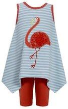 Aqua-Blue Orange Flamingo Stripe Knit Dress/Legging Set AQ0CH, Aqua, Bonnie J...