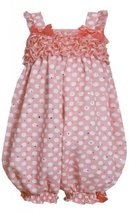 Coral-Orange White Dots and Ruffles Sparkle Chiffon Romper CO0BA, Pink, Bonni...