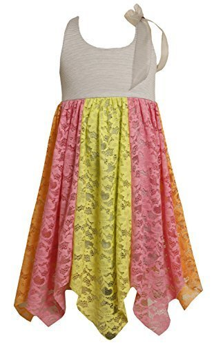 Bonnie Jean Little Girls' Pieced Lace Hanky Hem Sundress, Multi, 5 [Apparel]