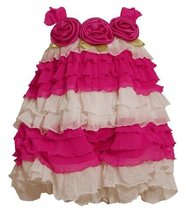 Fuchsia-Pink and Ivory Colorblock Tiered Eyelash Ruffle Bubble Romper FU... - $33.26