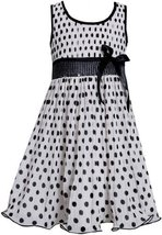 Black White Sequin Waist Crystal Pleat Dotted Chiffon Dress BW3NA, Black/Whit...