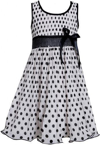 Black White Sequin Waist Crystal Pleat Dotted Chiffon Dress BW3SA, Black/Whit...