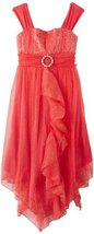 Bonnie Jean Girls 7-16 Coral Ruffle Front Dress COBY42478, Coral [Apparel] image 2