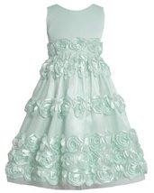 Mint-Blue Bonaz Rosette Border Mesh Overlay Dress MI4MH, Mint, Bonnie Jean Tw...