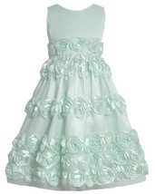 Mint-Blue Bonaz Rosette Border Mesh Overlay Dress MI4MB, Mint, Bonnie Jean Tw...