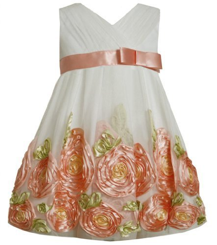 Coral Ivory Cross Over Bonaz Rosette Border Mesh Dress CO2HA, Coral, Bonnie J...