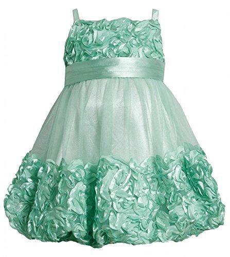 Bonnie Jean Little Girls' Bonaz Bubble with Pleated Satin Waistband (3T, Mint)