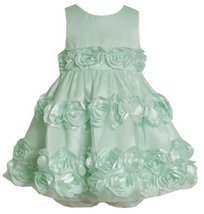 Mint-Blue Bonaz Rosette Border Mesh Overlay Dress MI1MH, Mint, Bonnie Jean Ba...