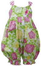 Pink Green Crossover X-Back Rose Floral Print Romper PK0CH, Pink, Bonnie Jean...
