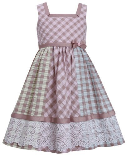 Brown Multi Check Colorblock Lace Border Seersucker Dress BR3NA, Brown, Bonni...