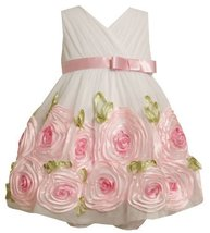 Bonnie Baby Baby-Girls Newborn Organza Bonaz Rose Border Dress 0IVSA, Ivory