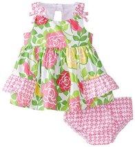 Bonnie Baby Baby-Girls Infant Floral Print Sundress PK1HB, Pink [Apparel]