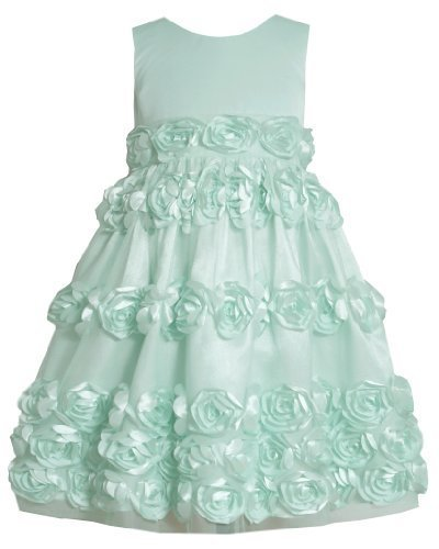Mint-BBlue Bonaz Rosette Border Mesh Overlay Dress MI3BU, Mint, Bonnie Jean L...
