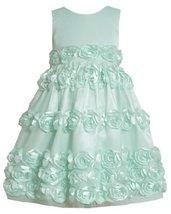 Mint-BBlue Bonaz Rosette Border Mesh Overlay Dress MI3BU, Mint, Bonnie Jean L...