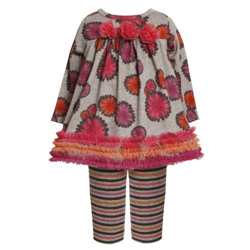 Size-0/3M BNJ-2186B 2-Piece GREY PINK ORANGE Pom-Pom Floral Print Fuzzy Knit ...