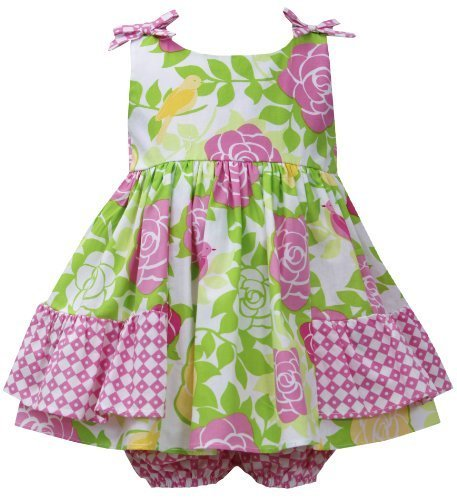 Pink Green Side Ruffle Bow Shoulder Rose Floral Print Dress PK1HB, Pink, Bonn...