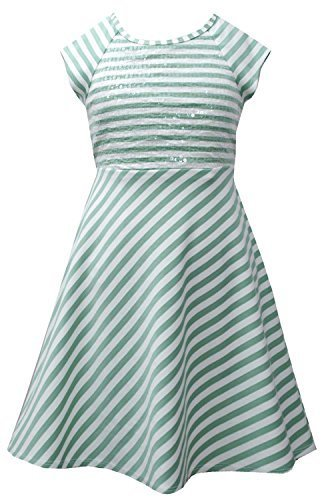 Aqua Ivory Sequin Bodice Cross Over Back Stripe Knit Dress AQ3NA, Aqua, Bonni...