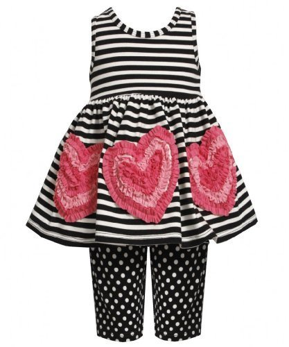 Size-3T, Black/White, BNJ-2397M, 2-Piece Black/White Stripes and Dots Bonaz H...
