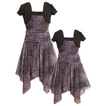 Size-4 BNJ-3086B PURPLE BLACK FLORAL PRINT MOCK-LAYER TWOFER ASYMMETRIC HEM S...