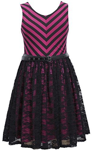 Girls 7-16 Magenta Belted Chevron Stripe Knit to Lace Overlay Dress (10, Mage...