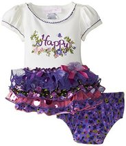 Bonnie Baby Baby-Girls 3M-24M Happy Appliqued Tiered Dress (6/9M, Purple)