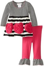Bonnie Baby Baby-Girls Infant Bonaz Heart and Stripe Legging Set (0-3 Months,...
