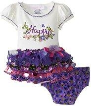 Bonnie Baby Baby-Girls 3M-24M Happy Appliqued Tiered Dress (18 Months, Purple)