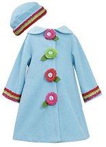 Bonnie Jean Little Girls 2T-6X Multicolor Rosettes Ruffles Fleece Coat/Hat Se...
