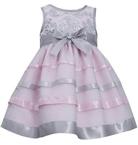Bonnie Jean Little Girls 2T-4T Pink Silver Soutache Ribbon Mesh Overlay Dress...