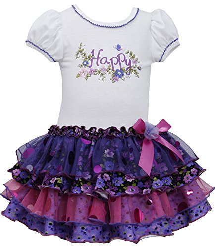 Little-Girls Purple/Ivory 'Happy' Knit to Sparkle Tiers Drop Waist Dress, PR2...