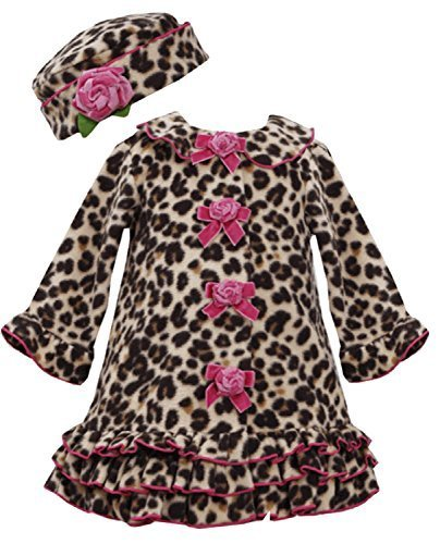 Bonnie Jean Baby Girls 3M-24M Leopard Animal Print Fleece Coat/Hat Set (18M, ...