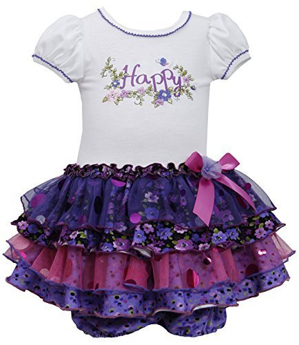 Baby Girls 3M-24M Purple White HAPPY Floral Embroidered Sparkle Tier Dress (2...