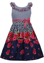Little Girls 4-6X Navy-Blue/Red Ruffley Neckline Floral Border Fit Flare Dres...
