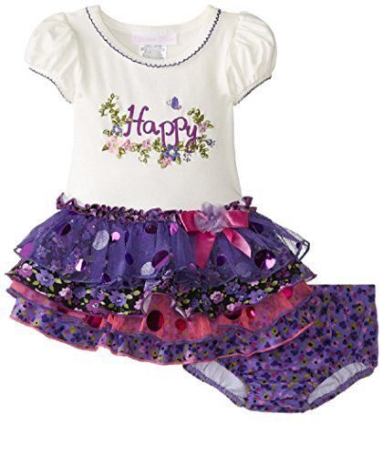 Bonnie Jean Little Girls Happy Appliqued Tiered Dress (2T, Purple) [Apparel]