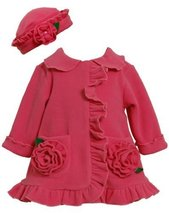 Bonnie Jean Baby-Girls 3M-24M Fuchsia Bonaz Rosette Pockets Fleece Coat/Hat S...