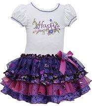 Little-Girls Purple/Ivory 'Happy' Knit to Sparkle Tiers Drop Waist Dress, PR2...
