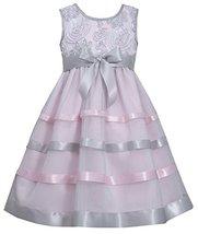 Bonnie Jean Little Girls 2T-6X Pink Silver Soutache Ribbon Mesh Overlay Dress...