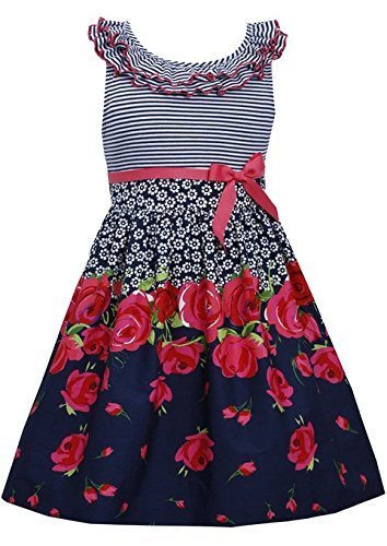 Little Girls 4-6X Navy-Blue Ruffley Neckline Stripe Knit Floral Border Print ...