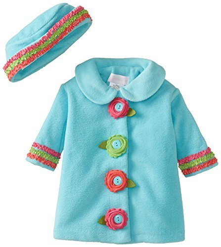Bonnie Baby Baby-Girls Newborn Fleece Coat and Hat Set, Turquoise, 3-6 Months