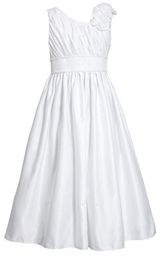Tween Big Girls 7-16 White Asymmetric One Shoulder Communion Dress (7, White)