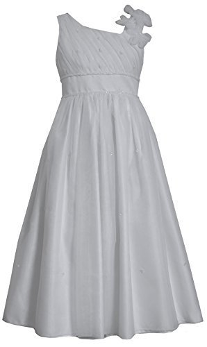Tween Big Girls 7-16 White Asymmetric One Shoulder Communion Dress (8, White)