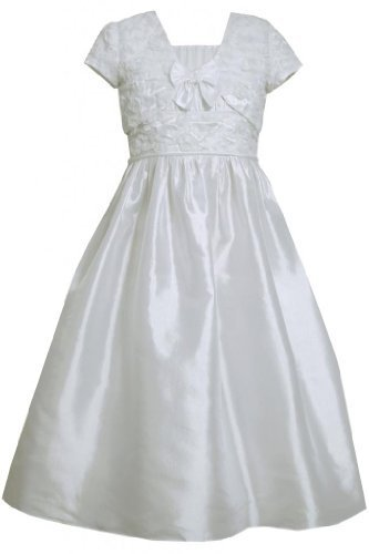 Bonaz Taffeta Communion Flower Girl Dress/Jacket Set WH4TA, White, Bonnie Jea...