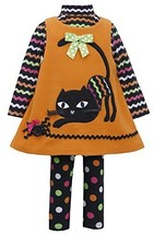 Bonnie Jean Girls Halloween Cat Fleece Dress Legging Outfit, Orange, 0-3M