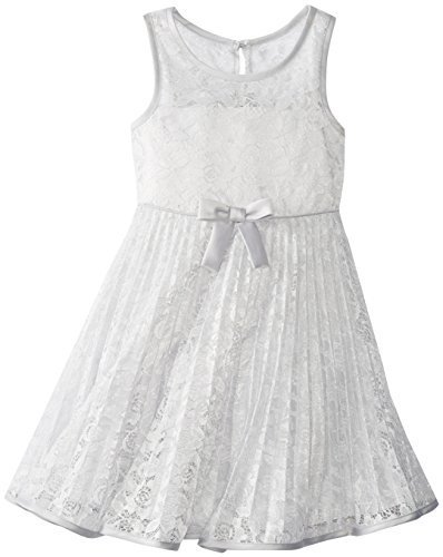 Bonnie Jean Little Girls' Lace Sunburst Dress, Silver, 6 [Apparel]