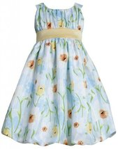 Aqua-Blue Yelow Daffodil Floral Print Shantung Bubble Dress AQ3NA, Aqua, Bonn...